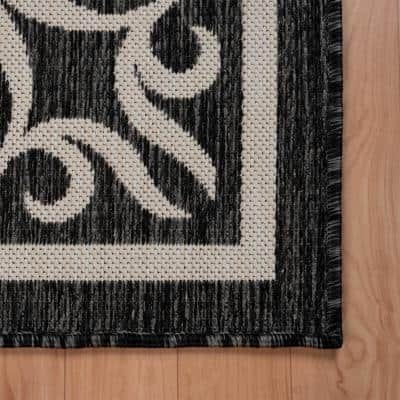 Kilimanjaro Gray/White 3 ft. x 5 ft. Fanciful Filigree Bordered Traditional Polypropylene Indoor/Outdoor Area Rug