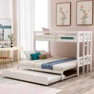 White Twin Over Twin/King Bunk Bed with Trundle