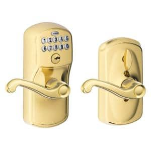 Plymouth Bright Brass Electronic Door Lock with Flair Door Lever Featuring Flex Lock