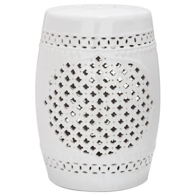 Quatrefoil White Ceramic Garden Stool