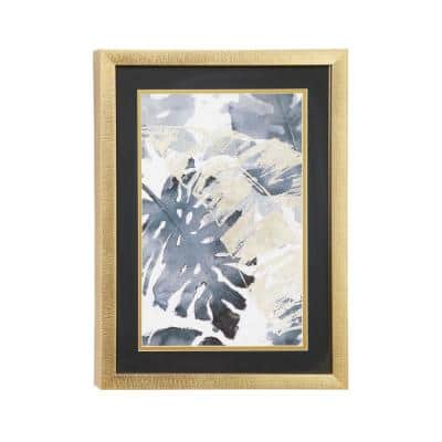 15.5 in. x 21.5 in. Contemporary Decor Gold and Gray Palm Leaf Watercolor Print in Rectangular Gold Wood Frame