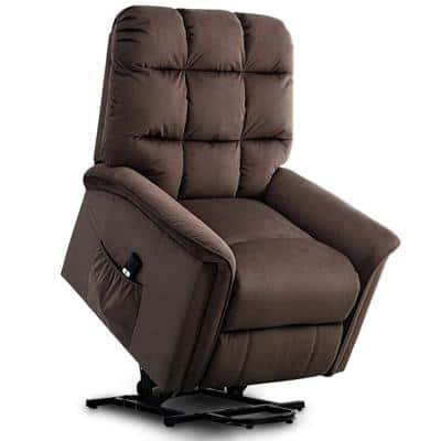 33 in. Width Big and Tall Brown Microfiber Lift Recliner