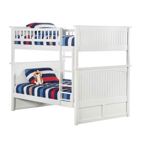 Atlantic Furniture Nantucket Bunk Bed Full over Full in White | The Home Depot