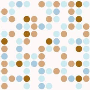 Grip Prints Polka Blue Brown and White Shelf and Drawer Liner (Set of 6)