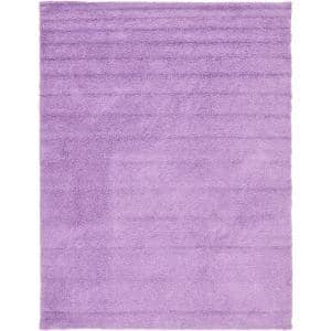 Solid Shag Lilac 9 ft. x 12 ft. Area Rug