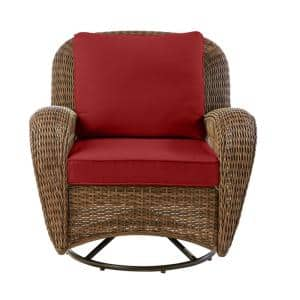 Beacon Park Brown Wicker Outdoor Patio Swivel Lounge Chair with CushionGuard Chili Red Cushions