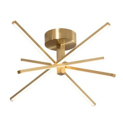 Jaxx 20 in. 4-Light Satin Brass Integrated LED Flush Mount with Acrylic Shade