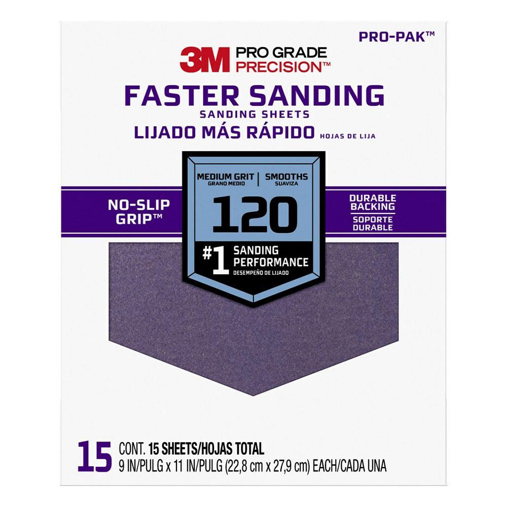 Pro Grade Precision, 9 in. x 11 in., Faster Sanding Sanding Sheets, 120 Grit, Medium (Case of 5, 15-Packs)