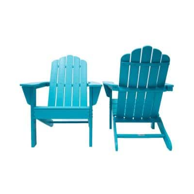Marina Aruba Blue Poly Plastic Outdoor Patio Adirondack Chair (2-Pack)