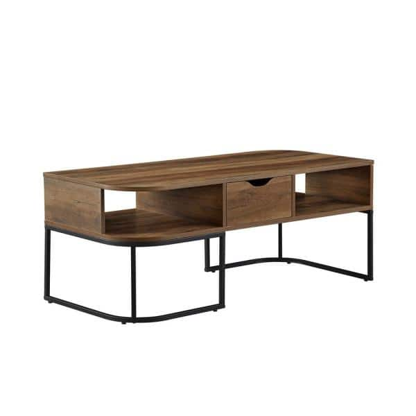 Welwick Designs 44 In Reclaimed Barnwood Black Large Specialty Wood Coffee Table With Drawers Hd8454 The Home Depot