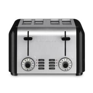 4-Slice Black and Stainless Steel Wide Slot Toaster with Crumb Tray