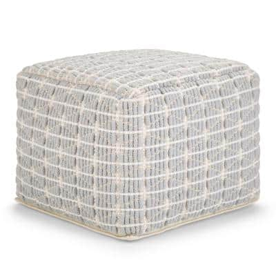Noreen Light Blue, White Handloom Woven Pattern Transitional Square Pouf