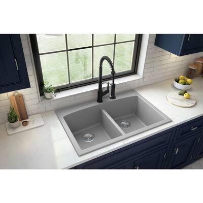 Drop-in Quartz Composite 33 in. Double Bowl Kitchen Sink in Grey