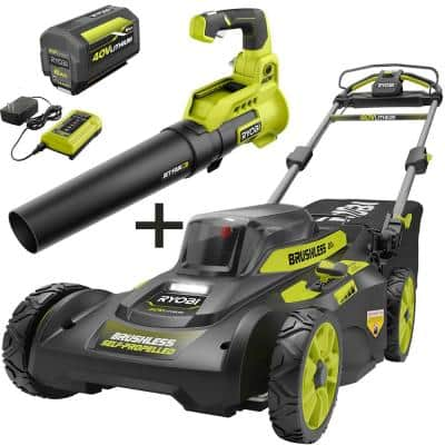 20 in. 40-Volt Brushless Lithium-Ion Cordless Self-Propelled Walk Behind Lawn Mower & Blower w/ 6.0 Ah Battery & Charger