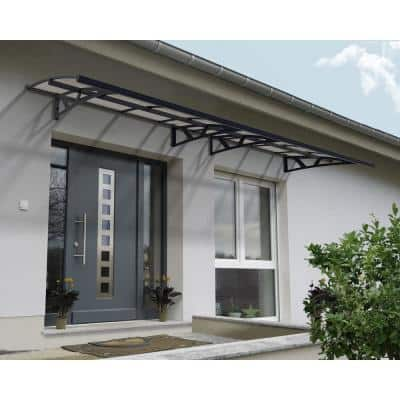 Amsterdam 4460 14 ft. 8 in. Gray/Clear Door Canopy Awning