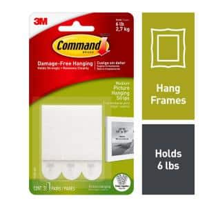 White 3 lbs. Medium Picture Hanging Strips (3-Sets of Adhesive Strips)