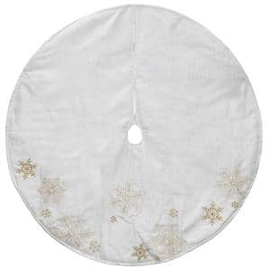 48 in. Gold and White Snowflake Embroidered Christmas Tree Skirt