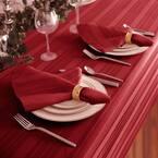 17 in. W x 17 in. L Denley Stripe Damask Red Fabric Napkins (Set of 4)