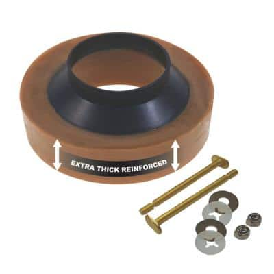 Extra Thick Reinforced Toilet Wax Ring with Plastic Horn and Zinc-Plated Toilet Bolts