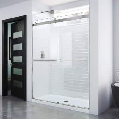 Essence 56 to 60 in. x 76 in. Semi-Frameless Sliding Shower Door in Brushed Nickel
