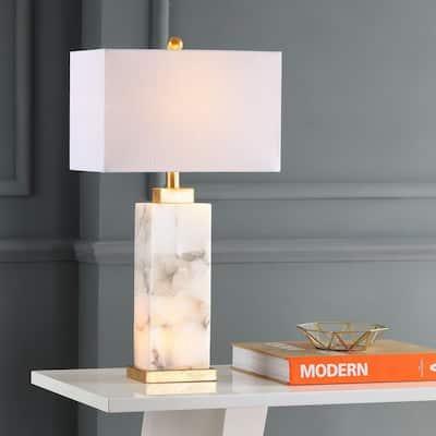Elizabeth 27.5 in. Alabaster LED Table Lamp, White/Gold Leaf