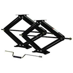 24 in. 7500 lbs. RV Stabilizer Scissor Jack Set of 2 with 1 Handle