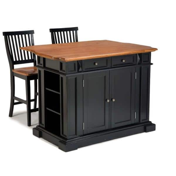 Homestyles Americana Black Kitchen Island With Seating 5003 948 The Home Depot