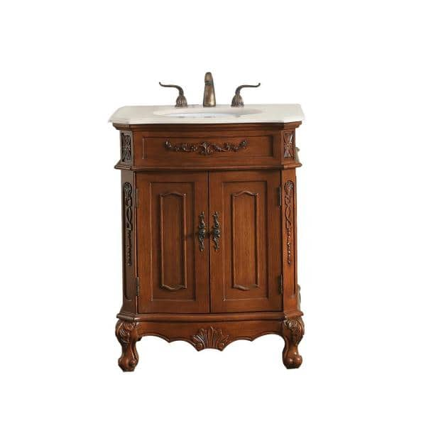Timeless Home Danny 27 In W X 21 In D Single Bathroom Vanity In Teak With Cream Marble And White Basin Th20227teak The Home Depot