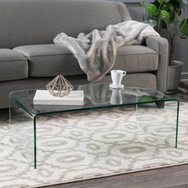 Noble House - Pazel 40 in. Clear Medium Rectangle Tempered Glass Coffee Table