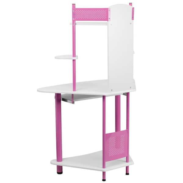 Flash Furniture Pink Corner Computer, Pink Corner Desk