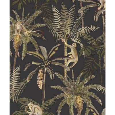 Climbing in the Trees Tropical Wallpaper Charcoal Paper Strippable Roll (Covers 57 sq. ft.)