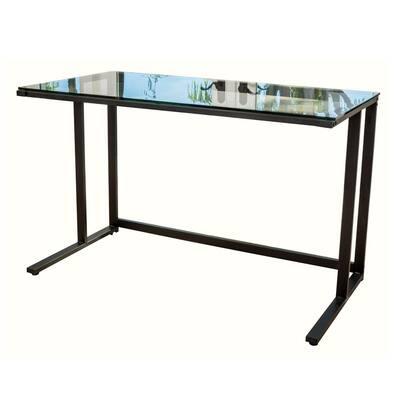 48 in. Rectangular Black Computer Desk with Open Storage