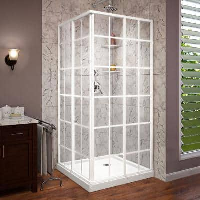 French Corner 36 in. D x 36 in. W x 74-3/4 in. H Framed Sliding Shower Enclosure with Corner Drain White Base