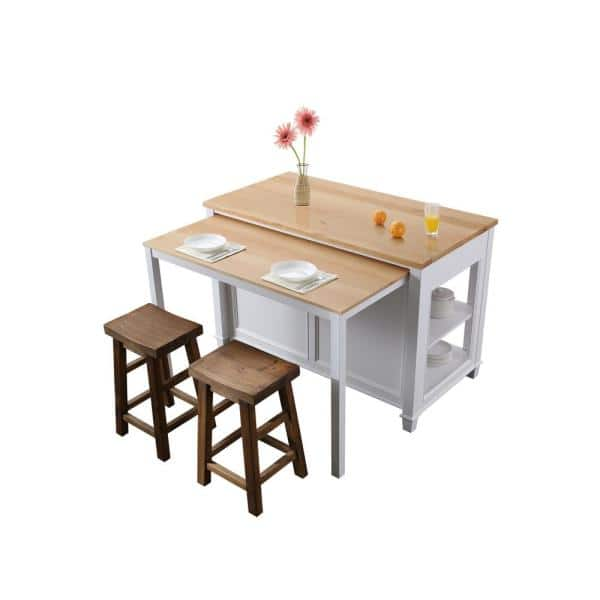 Design Element Medley White Kitchen Island With Slide Out Table Kd 01 W The Home Depot