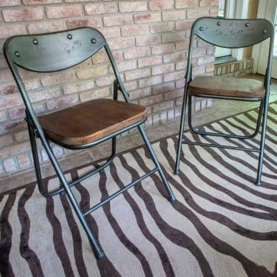 Vintage Charcoal and Oak Metal and Wood Folding Dining Chair (Set of 2)