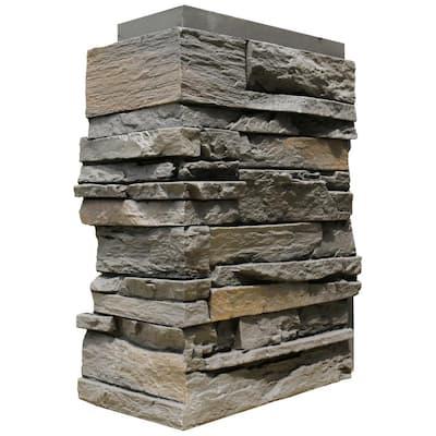 Country Ledgestone Appalachian Gray 10.25 in. x 3.5 in. Faux Stone Siding Corner (4-Pack)