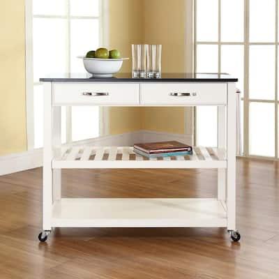 White Kitchen Cart With Black Granite Top