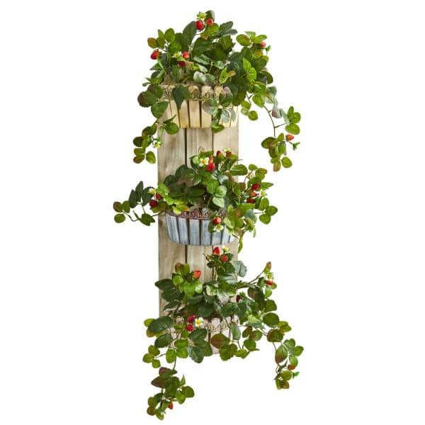Nearly Natural 39 In Indoor Strawberry Artificial Plant In 3 Tiered Wall Decor Planter 8356 The Home Depot