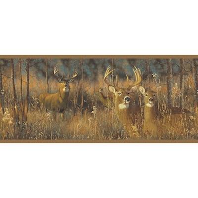 White Tail Deer Border Brown Wallpaper Border