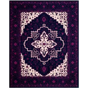Bellagio Purple/Ivory 8 ft. x 10 ft. Border Area Rug