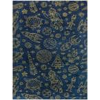Space Rockets Gold 5 ft. x 7 ft. Area Rug