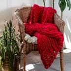 Red Acrylic Chunky Knitted Throw