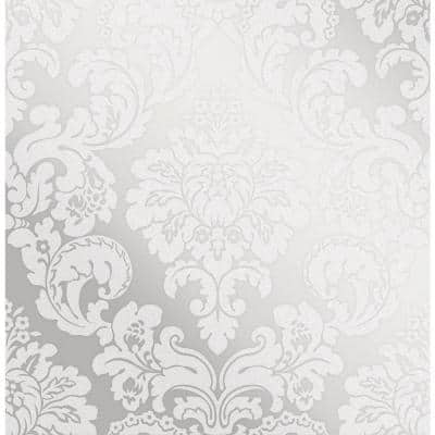 Margot Silver Damask Strippable Wallpaper (Covers 56.4 sq. ft.)