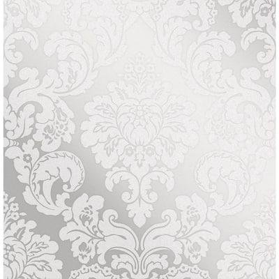 Margot Silver Damask Silver Wallpaper Sample