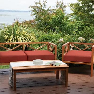 Ravenna Spice 42 in. W x 18 in. D x 3 in. T Rectangular Outdoor Bench/Settee Cushion