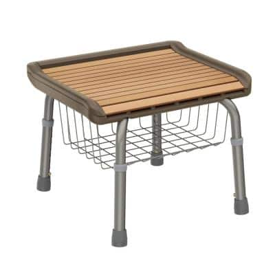 18.90 in. W x 15 in. D Faux Teak Tub and Shower Seat with Underneath Storage