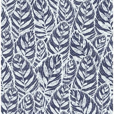 Del Mar Indigo BoTanical Indigo Paper Strippable Roll (Covers 56.4 sq. ft.)
