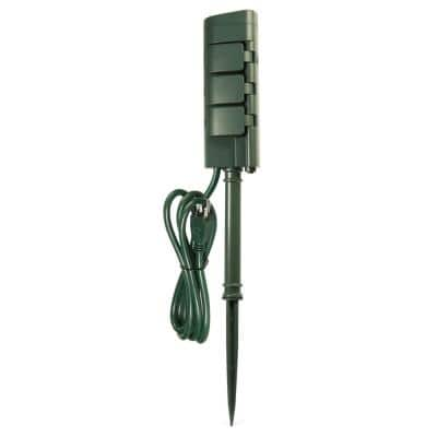 6 ft. Cord 15-Amp 6-Outlet Alexa / Google Assistant Compatible Smart Wi-Fi Outdoor Power Yard Stake, Green (3-Pack)