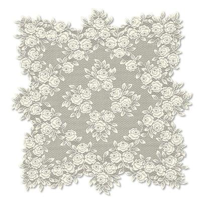 Tea Rose 30 in. W x 30 in. L Ecru Floral Polyester Table Topper