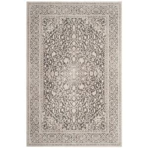 Reflection Dark Gray/Cream 5 ft. x 8 ft. Distressed Floral Area Rug